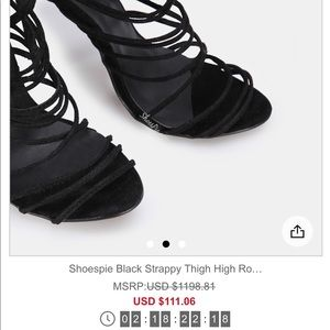 Shoespie Shoes - Black Strappy Thigh High Roman Sandals